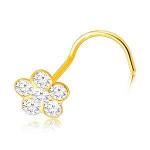 Piercing ze žlutého zlata 375 se zahnutým koncem - květ s čirými kulatými okvětními lístky