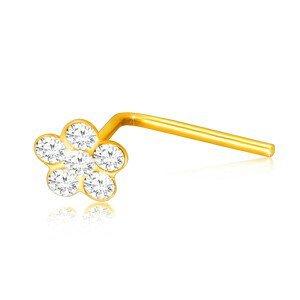 Zahnutý piercing ve žlutém 375 zlatě - kvítek ozdobený čirými zirkony