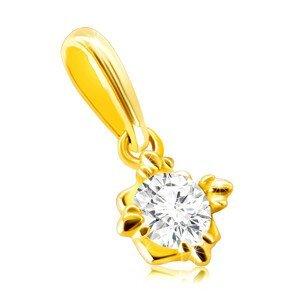 Přívěsek ze 14K zlata - drobný třpytivý kulatý zirkon v ozdobné objímce