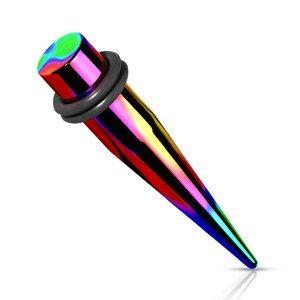 Ocelový 316L expander do ucha - duhová barva, dvě gumičky, PVD úprava - Tloušťka : 8 mm