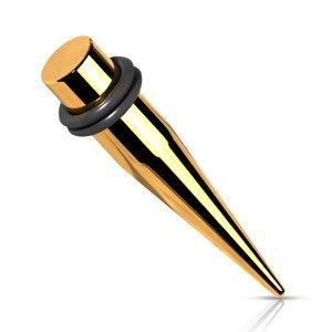 Ocelový 316L expander do ucha - zlatá barva, dvě gumičky, PVD úprava - Tloušťka : 2 mm