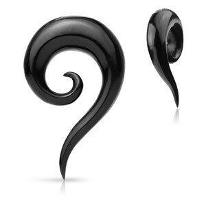 Expander do ucha z organického materiálu - černá hladká zatočená spirála - Tloušťka : 8 mm