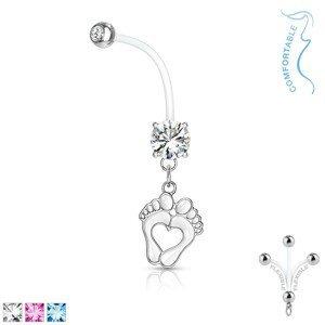 Ocelový piercing do bříška pro těhotné ženy - bioflex, zirkon, otisky nohou - Barva zirkonu: Růžová - P
