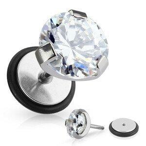 Falešný piercing do ucha z chirurgické oceli - kulatý čirý zirkon, gumička - Průměr: 8 mm
