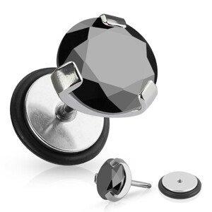 Falešný piercing do ucha z chirurgické oceli - kulatý černý zirkon, gumička - Průměr: 6 mm