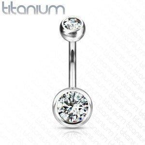 Titanový piercing do pupíku - dva čiré kulaté zirkony, 10 mm