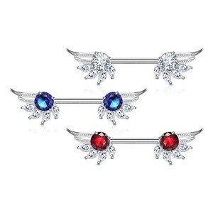 Piercing do bradavky z chirurgické oceli, andělská křídla, zirkony, rhodiovaný - Barva zirkonu: Čirá - červená