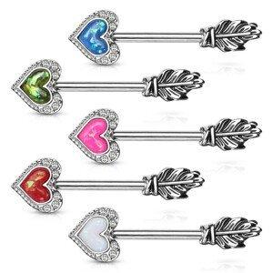 Ocelový piercing do bradavky - srdíčko, křídlo,  syntetický opál, zirkony, rhodiovaný - Barva: Růžová