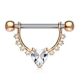 Piercing do bradavky z chirurgické oceli, půlkruh, srdíčko, zirkony, rhodiovaný - Barva zirkonu: Zlatá - čirá