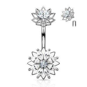 Ocelový piercing do pupíku, květy, čiré zirkony, stříbrná barva, rhodiovaný