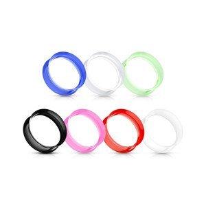 Sedlový tunel do ucha ze silikonu, ohebný, různé barvy, lesklý - Tloušťka : 6 mm , Barva: Čirá