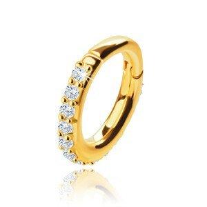 Piercing do nosu ze žlutého 9K zlata, kruh 6 mm, čiré zirkony, tloušťka 1,2 mm