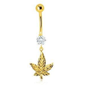 Piercing z 9K žlutého zlata do bříška - blýskavý marihuanový list, třpytivý kulatý zirkon