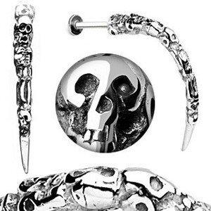 Piercing do brady z oceli - patinovaný roh s lebkami