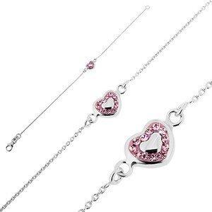 Stříbrný náramek 925 - růžové srdce s výplní a zirkonky