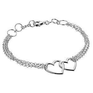 Stříbrný náramek 925 - dvě nepravidelná obrysová srdce a trojitý řetízek