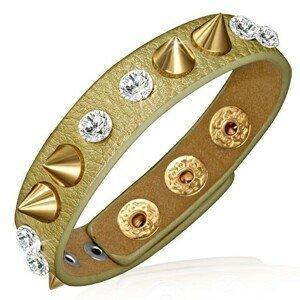 Kožený náramek - zlatý proužek s čirými kameny a zlatými hroty