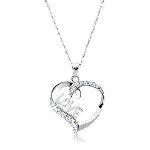 Náhrdelník ze stříbra 925 - linie srdce s nápisem LOVE