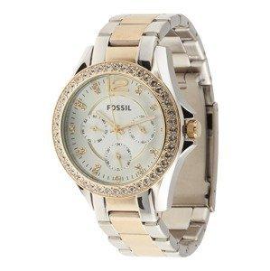 FOSSIL Analogové hodinky 'Riley'  zlatá / stříbrná
