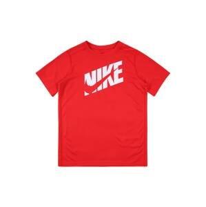 NIKE Funkční tričko  červená / bílá