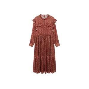 MANGO Košilové šaty 'Country'  bílá / oranžově červená / humrová
