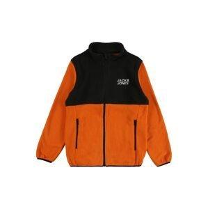 Jack & Jones Junior Fleecová mikina 'Hype'  tmavě oranžová / černá / bílá