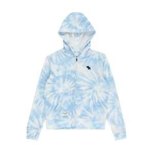 Abercrombie & Fitch Fleecová mikina  kouřově modrá / bílá