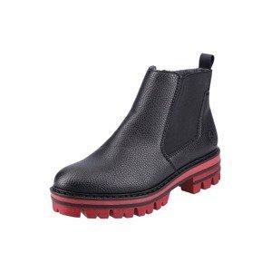 RIEKER Chelsea boty  černá / červená