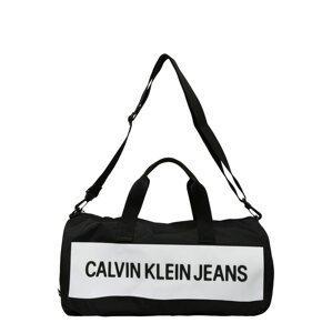 Calvin Klein Jeans Cestovní taška  černá / bílá