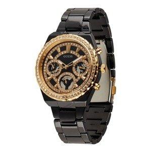 GUESS Analogové hodinky  černá / zlatá