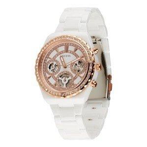 GUESS Analogové hodinky  bílá / růžově zlatá