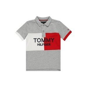 TOMMY HILFIGER Tričko  šedý melír / bílá / červená / noční modrá