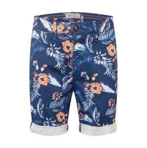 Petrol Industries Chino kalhoty  modrá / tmavě modrá / oranžová / bílá