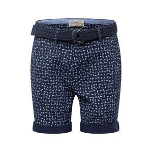Petrol Industries Chino kalhoty  tmavě modrá / bílá