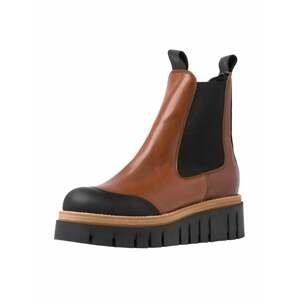 TAMARIS Chelsea boty  karamelová / černá