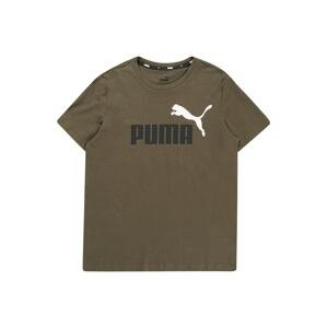PUMA Funkční tričko  khaki / bílá / černá