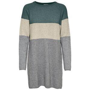 ONLY Úpletové šaty 'Lillo'  smaragdová / šedý melír / starobéžová
