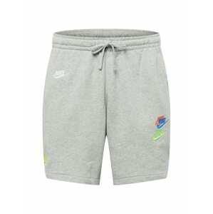 Nike Sportswear Kalhoty  šedý melír / bílá / jasně oranžová / nebeská modř / světle zelená