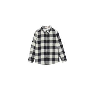 MANGO KIDS Košile 'Lenny'  bílá / šedý melír / černá