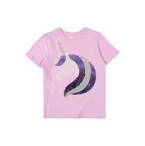 Cotton On Tričko 'STEVIE'  světle fialová / tmavě fialová / stříbrná / bílá