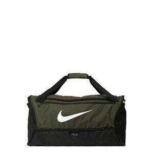 NIKE Sportovní taška  khaki / tmavě zelená / bílá