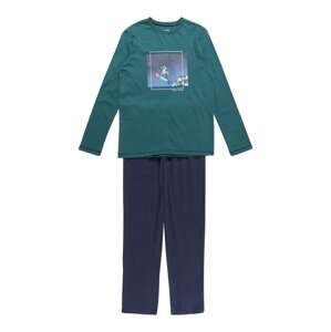 SCHIESSER Pyžamo 'Winter Escape'  bílá / námořnická modř / tmavě zelená