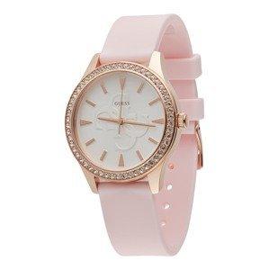 GUESS Analogové hodinky  růžová / bílá / stříbrná / bronzová