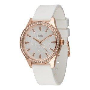 GUESS Analogové hodinky  bílá / zlatá