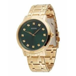 GUESS Analogové hodinky  zlatá / zelená