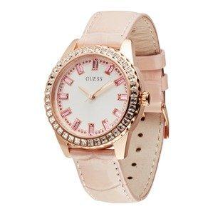 GUESS Analogové hodinky  růžová / růžově zlatá / bílá / krémová