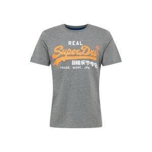 Superdry Tričko  bílá / námořnická modř / svítivě oranžová / tmavě šedá