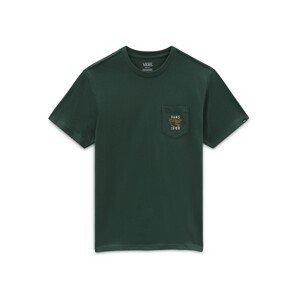 VANS Tričko  tmavě zelená / bílá / oranžová