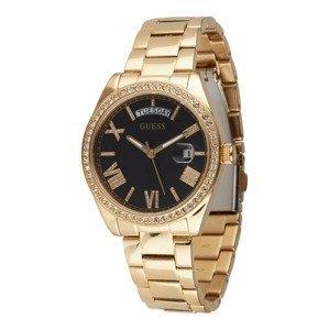 GUESS Analogové hodinky  zlatá / černá