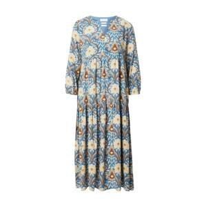 Rich & Royal Šaty  modrá / karamelová / pastelově žlutá